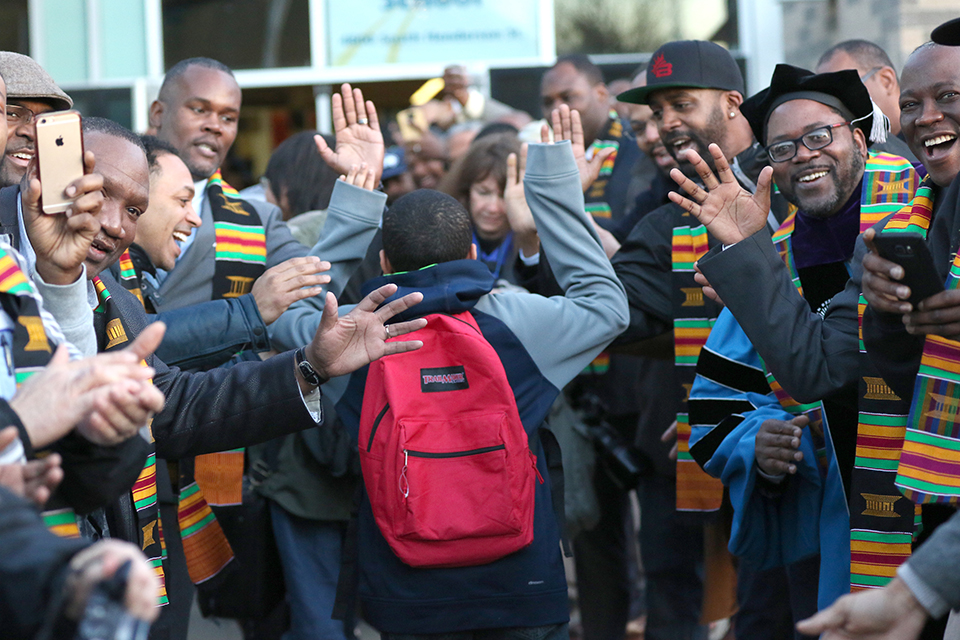 Over 200 Black men gathered to celebrate education and greet students at the South Shore PK-8 School in Seattle, Washington as part of the National African American Parent Involvement Day. (Chris Bennett/The Seattle Medium)