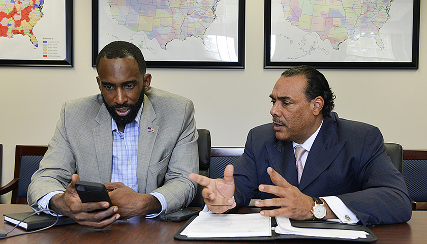 Telly Lovelace, the national director of African-American Initiatives and Media for the RNC (left) and Bruce LeVell, the executive director of the National Diversity Coalition for Donald Trump, meet at RNC headquarters in Washington, D.C. (Freddie Allen/AMG/NNPA)