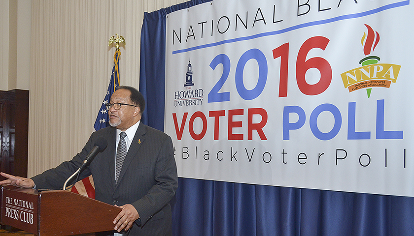 Dr. Benjamin F. Chavis, Jr., the president and CEO of the NNPA, talks about the results of the 2016 HU/NNPA National Black Voter Poll during a press conference at the National Press Club in Washington, D.C. (Freddie Allen/AMG/NNPA)