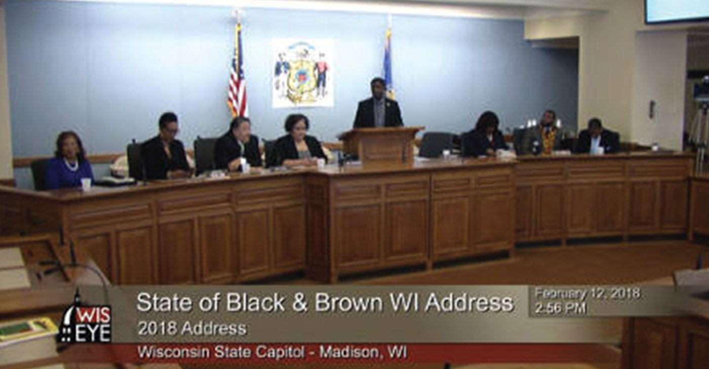 Rep. Crowley and Rep. Zamarripa organized the Black and Latino Caucus in its first annual State of Black and Brown Wisconsin Address.