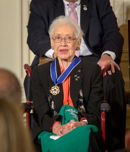 Former NASA mathematician Katherine Johnson is seen after President Barack Obama presented her with the Presidential Medal of Freedom, Tuesday, Nov. 24, 2015, during a ceremony in the East Room of the White House in Washington.