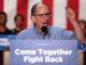 "Chairman Tom Perez speaking with supporters at a ""Come Together and Fight Back"" rally with U.S. Senator Bernie Sanders hosted by the Democratic National Committee at the Mesa Amphitheater in Mesa, Arizona. (Photo: George Skidmore/WikimediaCommons)"