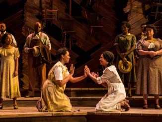 "Adrianna Hicks, N'Jameh Camara and the North American tour cast of ""The Color Purple."" Photo by Matthew Murphy. Courtesy Kennedy Center."