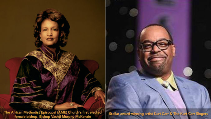 The African Methodist Episcopal (AME) Church's first elected female bishop, Bishop Vashti Murphy McKenzie, and Stellar award-winning artist Kurt Carr & The Kurt Carr Singers, will headline the Congressional Black Caucus Foundation, Inc.'s (CBCF) Annual Legislative Conference (ALC) Prayer Breakfast on September 15, 2018.