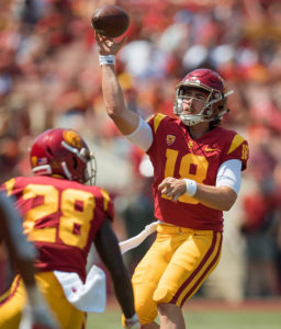 USC freshman quarterback JT Daniels showed what all the hype was about in his college debut Sept. 1. He completed 22 of 35 passes for 282 yards and one touchdown in the Trojans 43-21 win over Nevada Las Vegas. (Photo by Mario Villegas)
