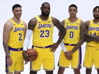 L-R) Lakers' Lonzo Ball, LeBron James, Kyle Kuzma, Brandon Ingram pose for a photo during media day at the UCLA Health Training Facility in El Segundo, Calf. (Photo by J. Diaz/Lakers.com)