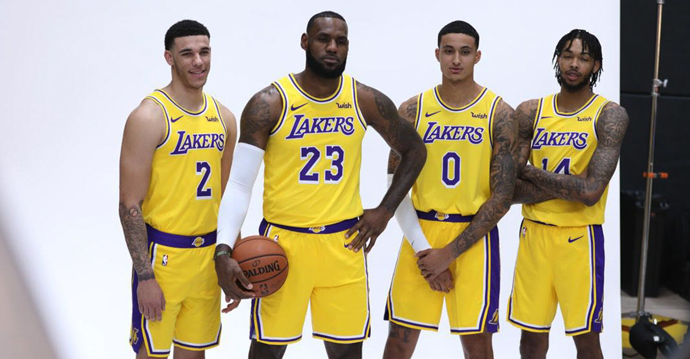 L-R) Lakers' Lonzo Ball, LeBron James, Kyle Kuzma, Brandon Ingram pose for a photo during media day at the UCLA Health Training Facility in El Segundo, Calf. (Photo by J. Diaz/Lakers.com)