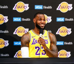 LeBron James addresses the media for the first time since signing with the Lakers in July at the UCLA Health Training Facility in El Segundo, Calf. (Photo by Ryan Young/Los Angeles Lakers)