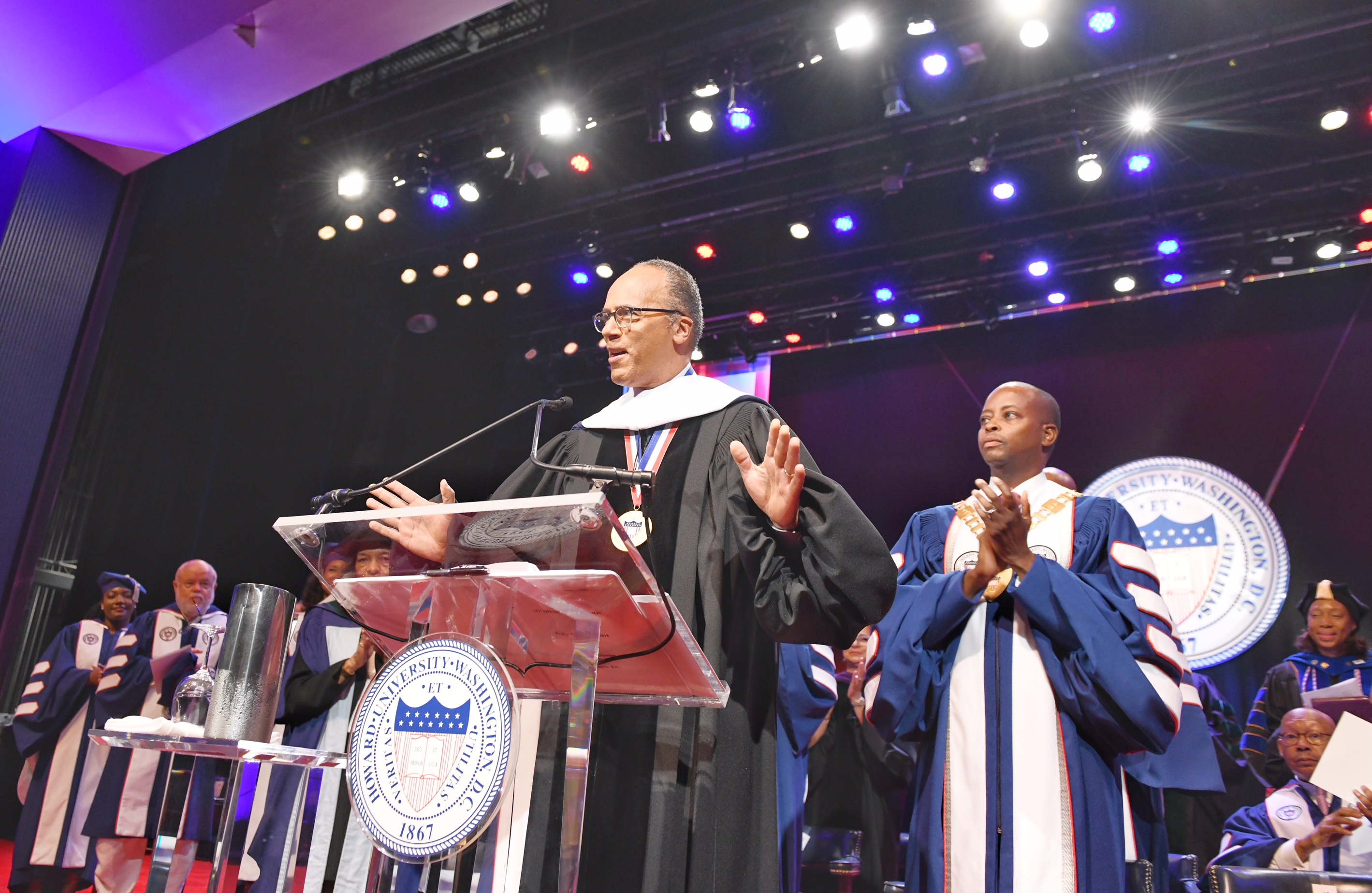 Howard University, gave way to their 151st opening convocation with award-winning journalist, NBC anchor Lester Holt, who received an honorary doctorate during the event. (Photo: Howard University)