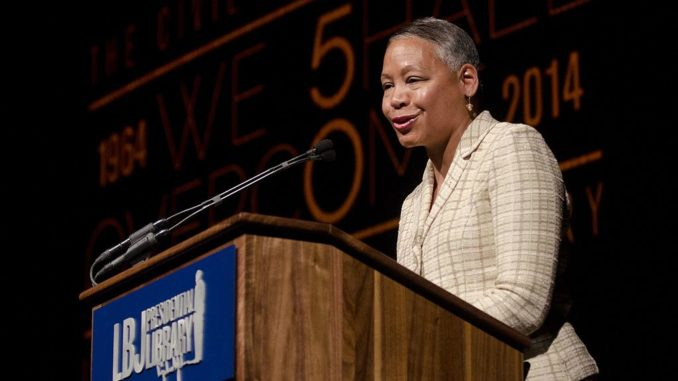 "Lisa Borders, chair of the Coca-Cola Foundation, made introductory remarks at the panel on ""Social Justice in the 21st Century: Empowering Minds, Changing Hearts and Inspiring Service."" Photo by Marsha Miller."
