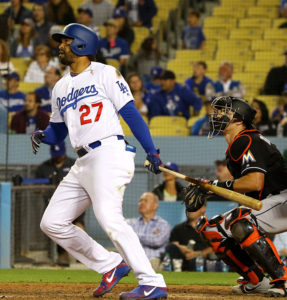 Dodgers outfielder Matt Kemp had the key hits in the Dodgers wins Sept. 1-2 against the Arizona Diamondbacks. His three-run eighth inning home run Sept. 1 provided all the Dodgers runs in a 3-2 victory. His pinch-hit, two-run double the next day game the Dodgers a 3-2 walk-off win. (Photo by Nick Koza)