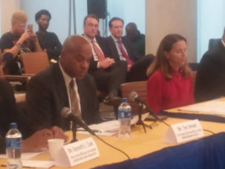 Kenneth Clark, MDBA Capital Region Business Center, Tim Smoot, Meridian Management Group, Mary Miller, 21st Century Cities Initiative JHU, and Will Holmes Goldman Sachs 10,000 Small Businesses Initiative, Morgan State University testify at US Senate Small Business field hearing Friday September 14th. (Photo by Deborah Bailey)