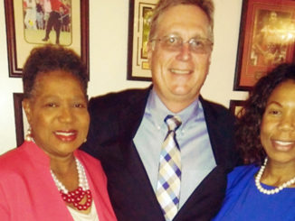 Brenda Gilmore with daughter Erica Gilmore and Randy Button of the Capitol Strategy Group.(photo D. Culp)