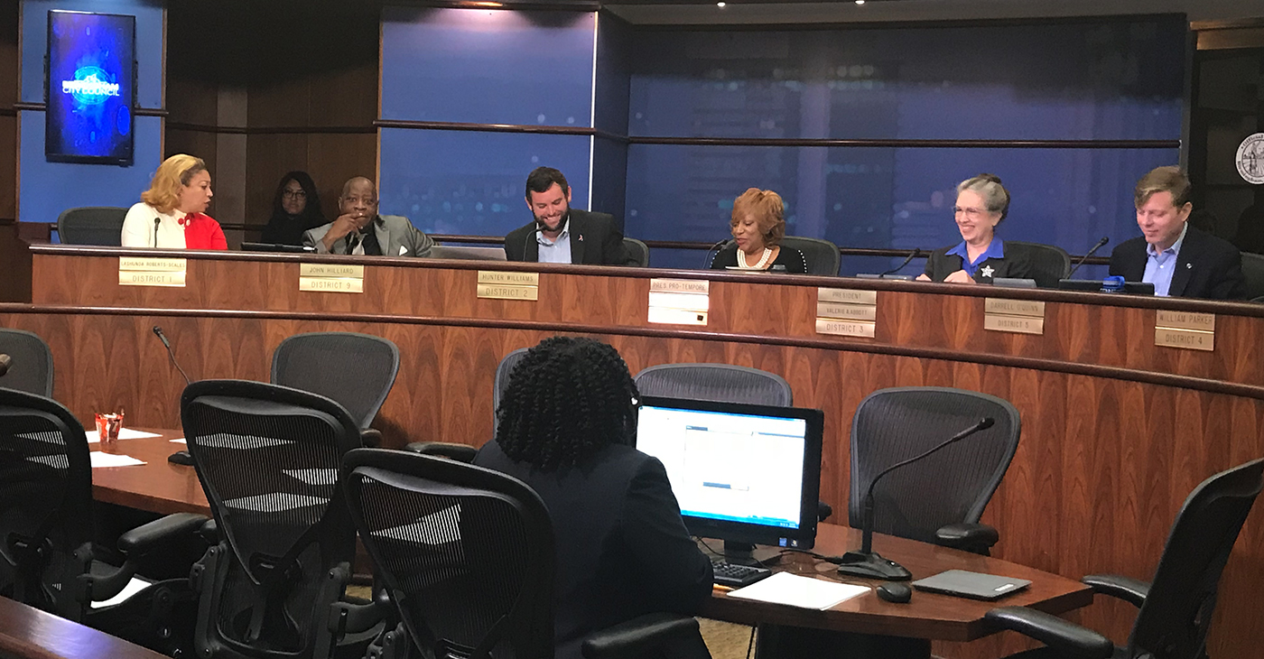 Wardine Alexander (fourth from left) takes her seat as the new City Council representative from District 7. ((Erica Wright Photo, The Birmingham Times)
