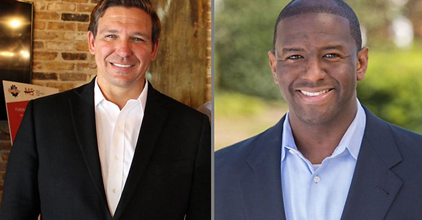 (l-r) Republican Ron DeSantis and Democrat Andrew Gillum