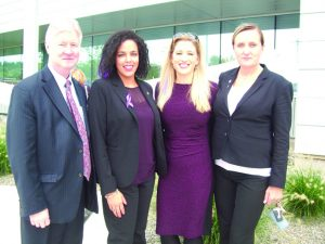Among those attending last Monday's event that kicked off October's Domestic Violence Awareness Month at the Orange County Government Center were Harry Porr, Deputy County Executive; Inaudy Esposito, Executive Director of the Human Rights Commission; Kellyann Kostyal-Larrier, Executive Director of Safe Homes of Orange County, and Joanna Janik, Risk Reduction Response Project Coordinator at City of Newburgh Police Department.