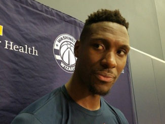 Washington Wizards center Ian Mahinmi speaks with reporters after practice at Entertainment and Sports Arena in southeast D.C. on Oct. 19. (William J. Ford/The Washington Informer)