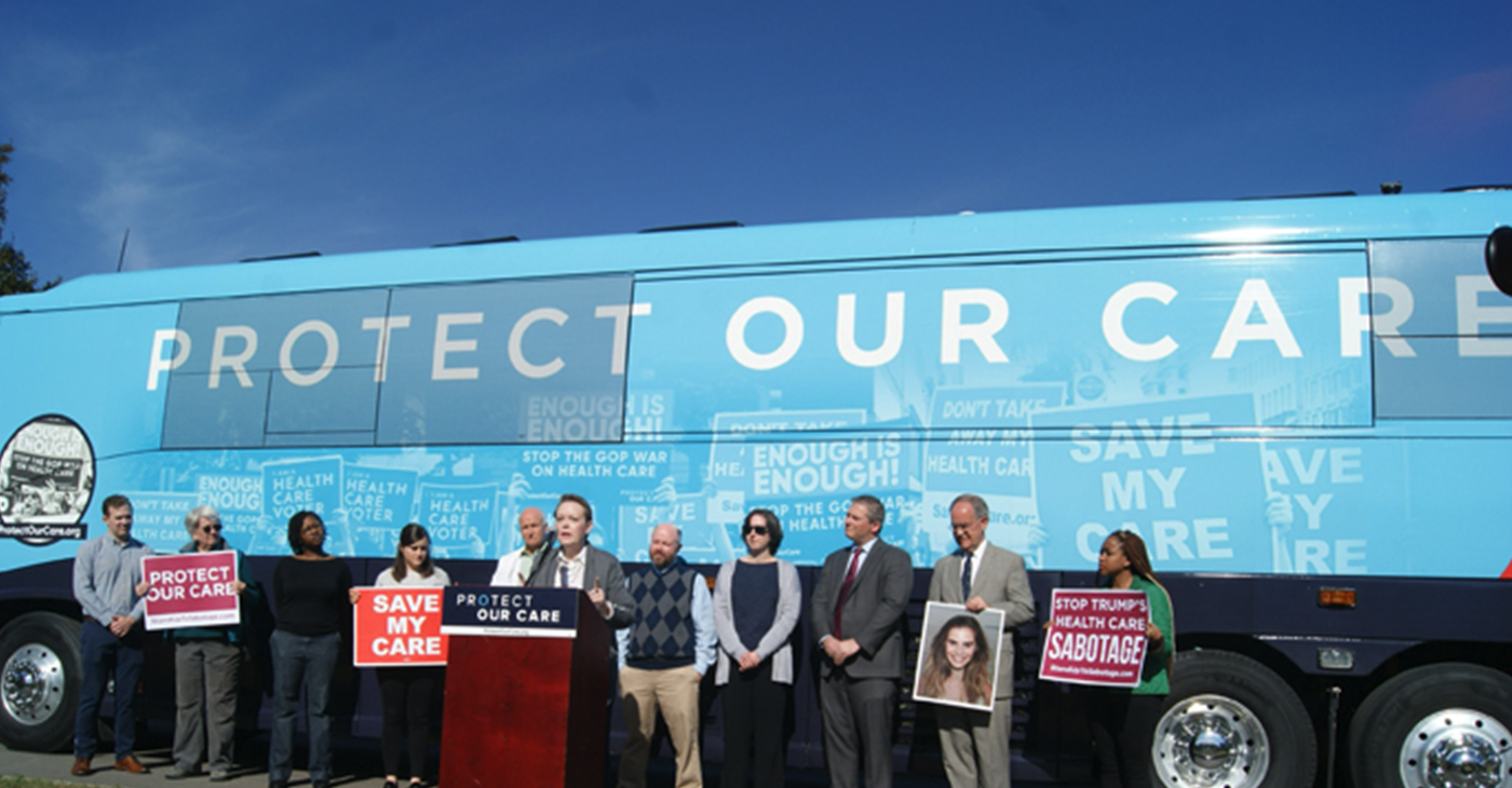 Rep. Jim Cooper (second from r), state Sen. Jeff Yarbro (third from r) join locals at 'Protect Our Care' Nashville stop.