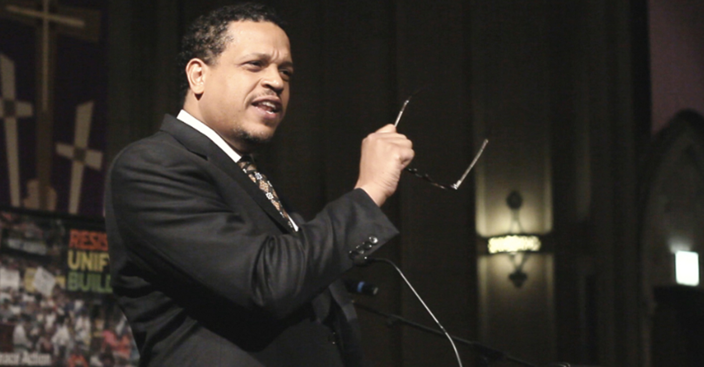 "Troy LaRaviere Speaking at Chicago Area Peace Action's 50th-anniversary celebration of MLK's ""Beyond Vietnam"" speech."
