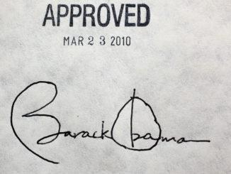 Former President Barack Obama's signature on the health insurance reform bill, March 23, 2010. (Photo: WOSU Radio – WOSU Public Media)