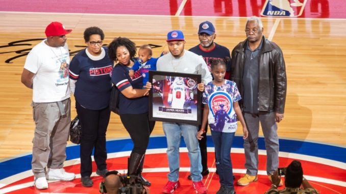 The family of fallen Detroit Police officer James Hearn accepted scholarships for his two children from the Detroit Pistons. PHOTO: Kory Woods