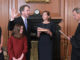 Chief Justice John G. Roberts, Jr., administers the Constitutional Oath to Judge Brett M. Kavanaugh in the Justices' Conference Room, Supreme Court Building. Mrs. Ashley Kavanaugh holds the Bible. Credit: Fred Schilling, Collection of the Supreme Court of the United States.