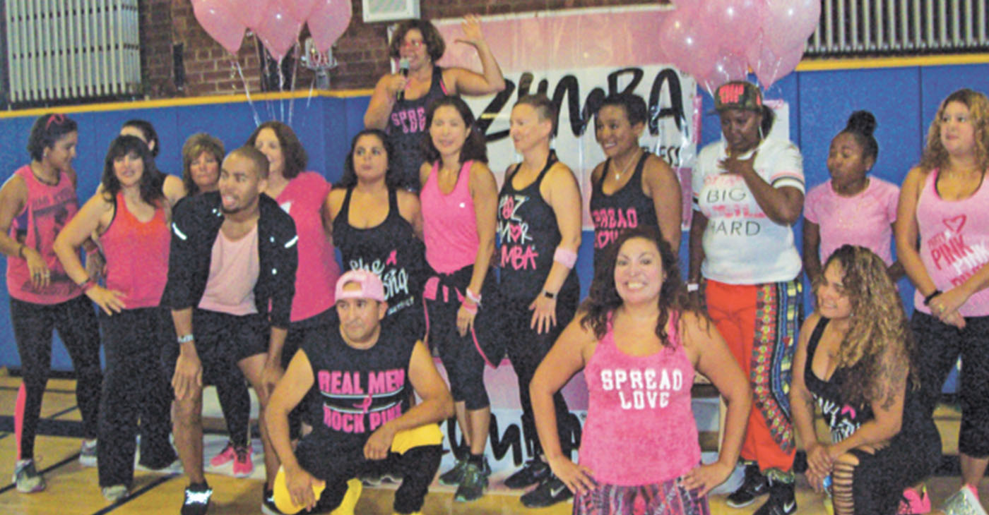 """Some of the many area Zumba instructors who devoted their time and energies to Sunday's """"Party in Pink,"""" Zumbathon held in honor of Breast Cancer Awareness Month."""