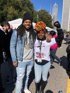 Chicago Votes Community Engagement Coordinator Erica Nanton and Rapper King Louie