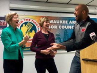 (L-R Elizabeth Warren, Tammy Baldwin and Mandela Barnes) Wisconsin democrats are excited to bring change to Wisconsin. (Provided by Tammy Baldwin campaign)