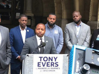 (L-R: Ashanti Hamilton, David Crowley, David Bowen, Supreme Moore Omokunde and Cavalier Johnson at the podium) Black male leaders say go vote on Nov. 6. (Photo by Nyesha Stone)