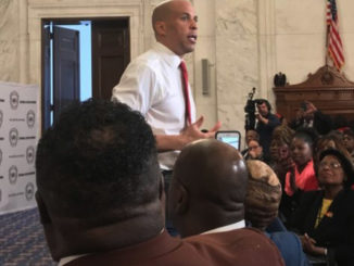 Sen. Cory Booker addresses the crowd at the National Action Network Legislative & Policy Conference on November 13 and 14.