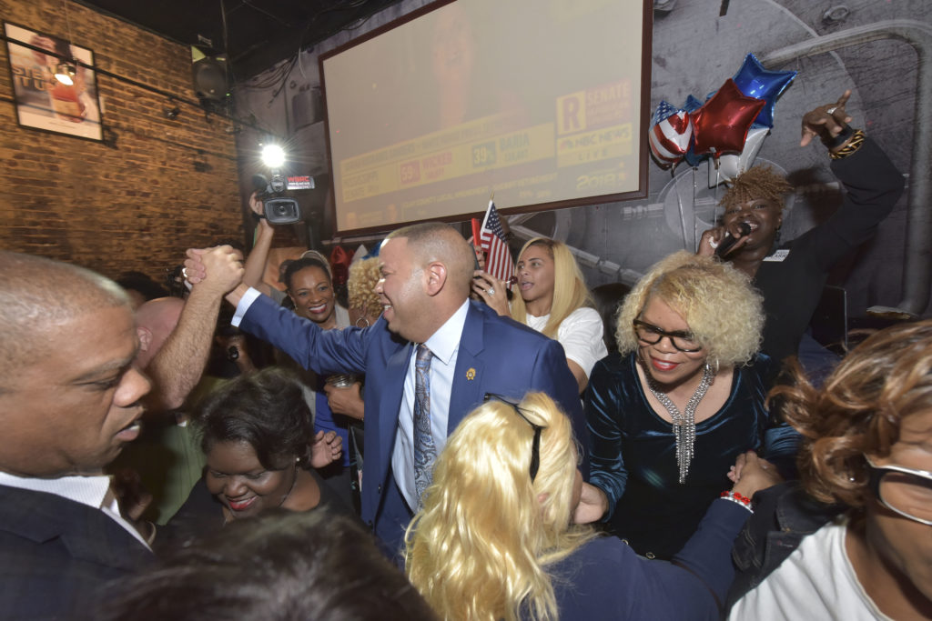 Jefferson County District Attorney candidate Danny Carr meets with supporters after the polls closed Tuesday November 6, 2018.. (Frank Couch for The Birmingham Times)