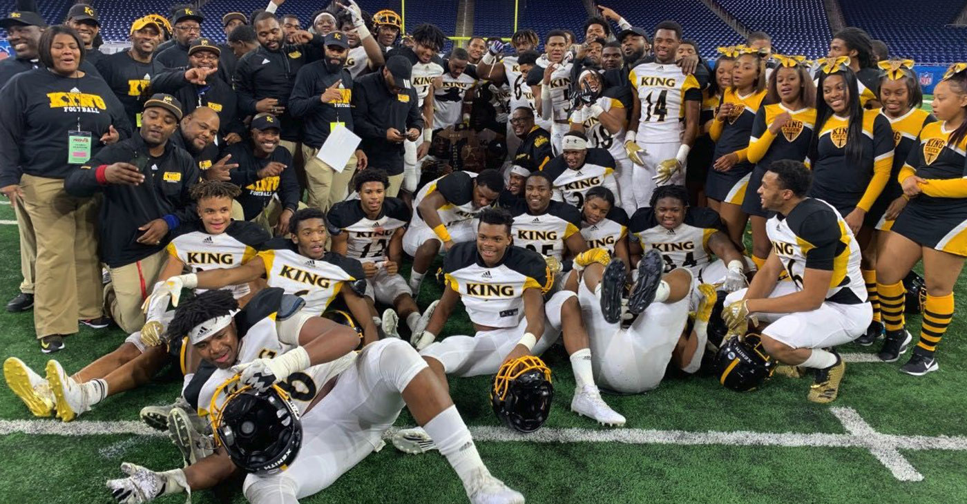 Detroit King football celebrates its third state title in four years.