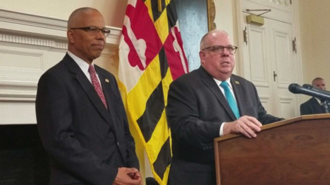 Maryland Gov. Larry Hogan (right), joined by Lt. Gov. Boyd Rutherford, speaks during a press conference at the State House in Annapolis on Nov. 7, one day after his historic general election victory. (William J. Ford/The Washington Informer)