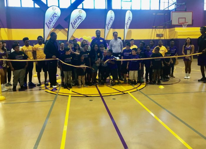 The Lakers Youth Foundation celebrates the court dedication at the Union Rescue Mission with a ribbon cutting ceremony in downtown Los Angeles on Saturday, Nov. 3 Courtesy Photo