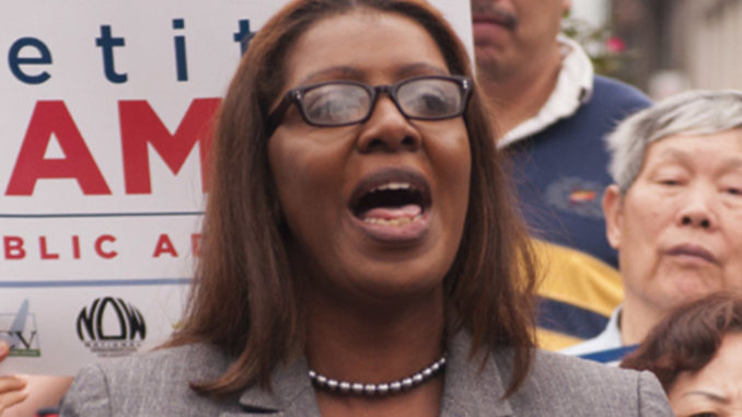 Letitia James during a rally, September 2013. Photo: Wikicommons/ Matthew Cohen