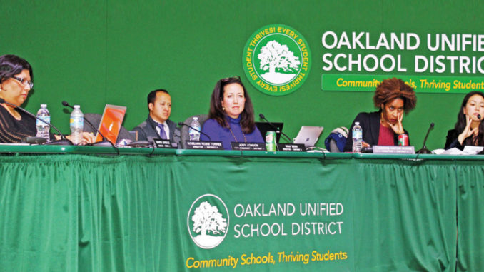 School board members Shanthi Gonzales, Nina Senn, Jumoke Hinton Hodge and Aimee Eng.
