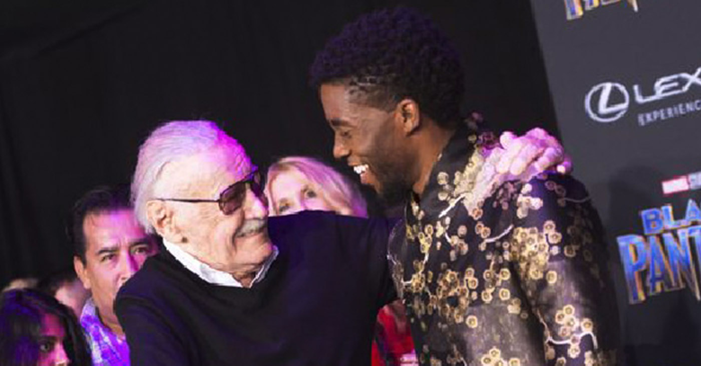 Stan Lee with Chadwick Boseman, the actor who portrays Black Panther.