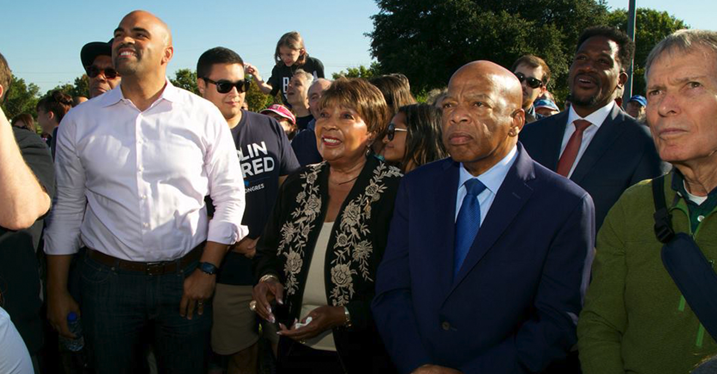 Colin Allred, Congresswoman Eddie Bernice Johnson, Congressman John Lewis and Billy Brumley listen to speakers at March to the Polls rally in Dallas. (Image via Allred's Facebook Page)