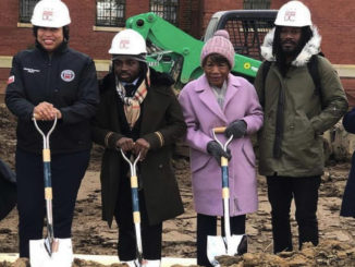 Stan Jackson, president of Anacostia Economic Development Corporation, D.C. Mayor Muriel Bowser, Councilman Trayon White (D- Ward 8) and Mary Cuthbert, ANC 8C chair at the groundbreaking for the Residences at St. Elizabeths East on Nov. 27. (Courtesy Photo)