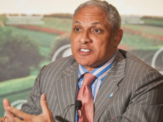 "At the 2012 Agricultural Outlook Forum, ""Moving Agriculture Forward"" in Arlington, VA, held on Thursday, February 23, 2012, 7 former Secretaries of Agriculture sat on the plenary panel ""Visions of the Future"" hosted by current Agriculture Secretary Tom Vilsack. Congressman Mike Espy (MS) speaks out during the panel discussions. USDA photo by Robert Nichols"