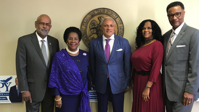 MS Politicians at Espy's 'Meet & Greet' (l-r) Kenneth Walker, Sheila Jackson Lee, Mike Espy, Deborah Gibbs, Sollie Norwood