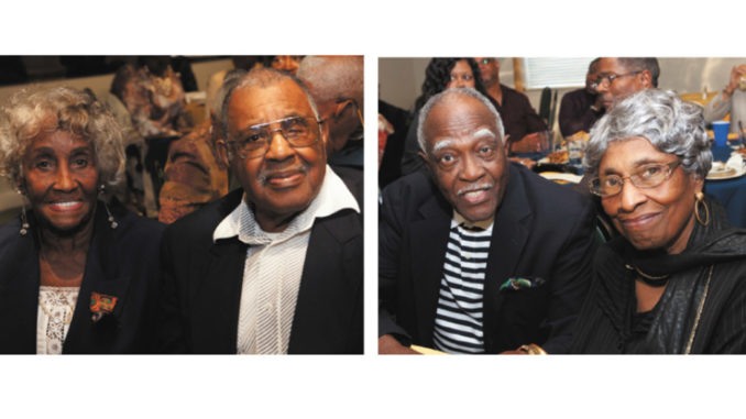 George and Chris Giles, at left, and the Rev. Walter and Delores Buckner, at right, were the longest married couples at the annual African American Couples Celebrating 50 + Years luncheon on Oct. 20 at Raffel's Catering in Evendale. Photos by Gary L. Lewis