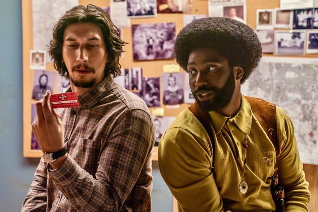 Adam Driver stars as Flip Zimmerman and John David Washington as Ron Stallworth in Spike Lee's BlacKkKLansman, a Focus Features release. Photo: David Lee / Focus Features