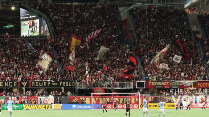 A View of the Supporters Section during the first leg of the MLS Eastern Conference Semifinals at Mercedes-Benz Stadium Sunday, November 11, 2018. Photo by: Itoro N. Umontuen/The Atlanta Voice