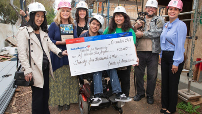 L-R: Millie Yamaki (Bank of America), Erin Rank (Habitat LA), Jennifer Wise (Habitat LA), Kendall Mulvihill (Parntner Homeowner), Kaoru Mulvihill (Partner Homeowner), David Snyder (Partner Homeowner), and Maria Arias (Bank of America.)