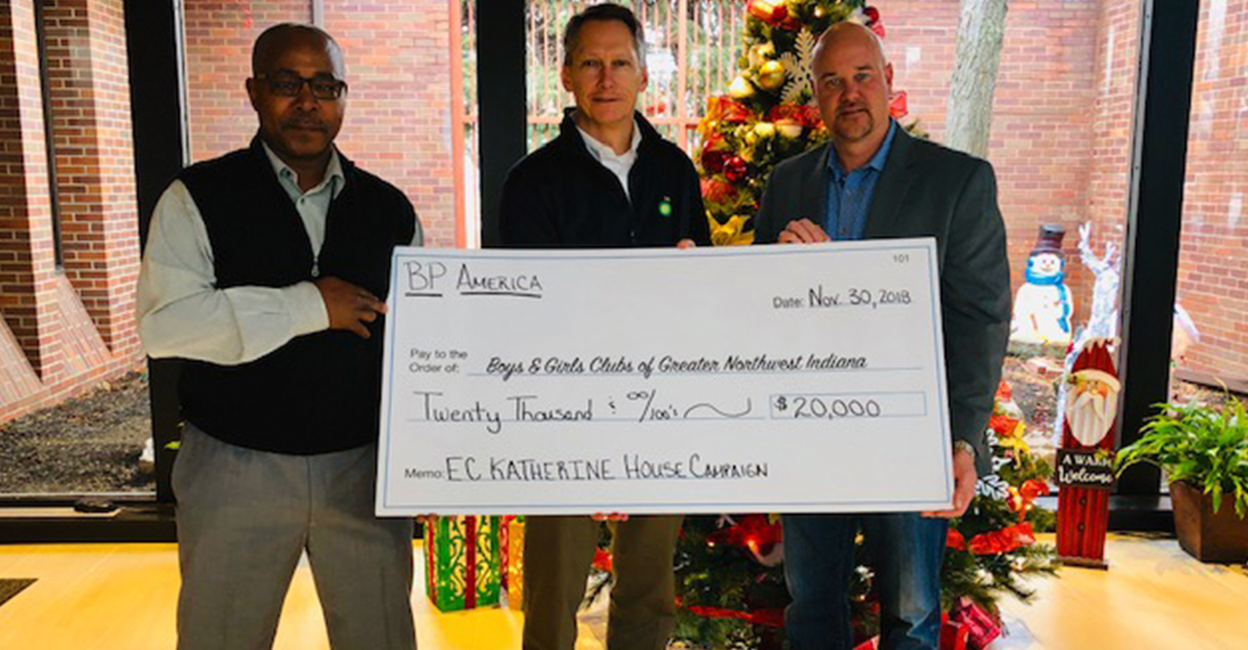 Boys & Girls Club of Greater Northwest Indiana accepts a $20,000 gift from BP America for the East Chicago Katherine House Club's Capital Initiative. On hand to provide the gift are (from left to right): East Chicago Mayor Copeland; Don Porter, Whiting BP Refinery Manager; and Ryan Smiley, President and CEO of Boys & Girls Clubs of Greater Northwest Indiana.
