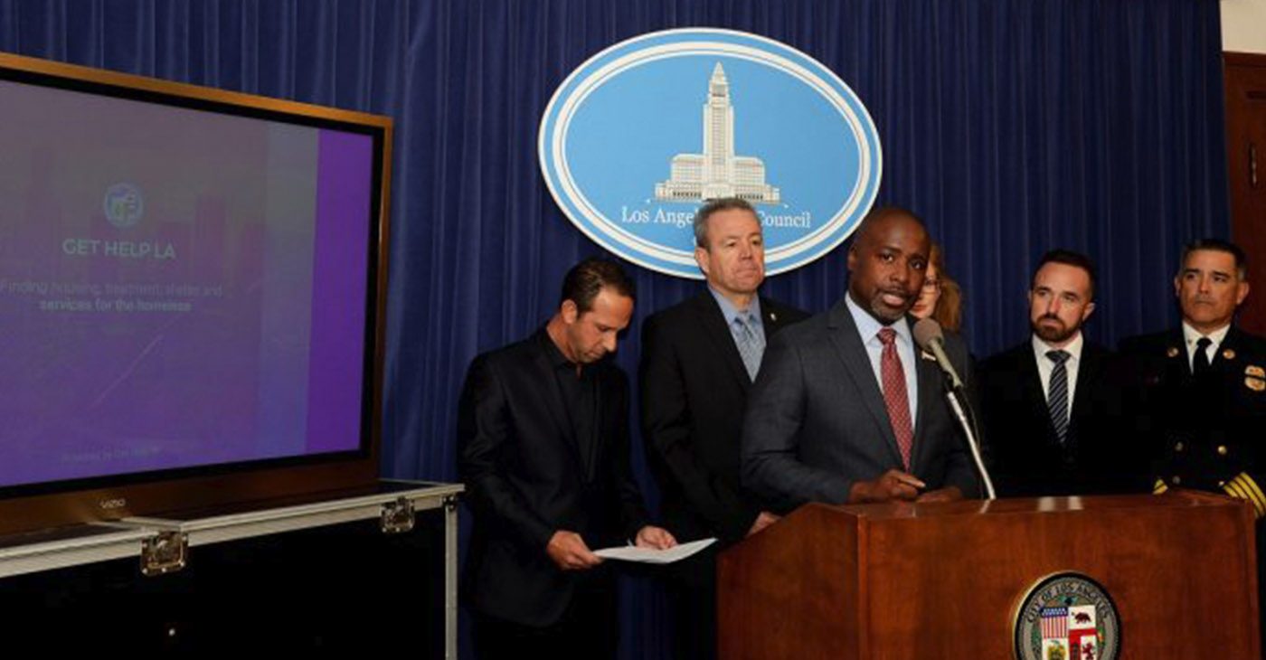 Councilmembers Mitch Englander and Marqueece Harris-Dawson announce the Get Help App to allow first responders and community members to connect homeless individuals to services on their phones. (Courtesy Photo)