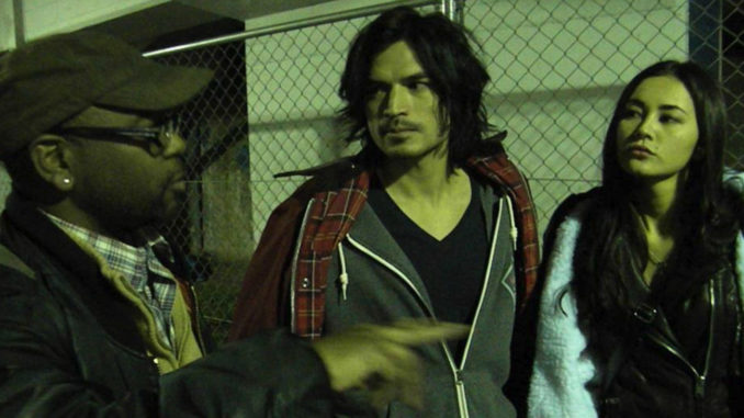 """Darryl Wharton-Rigby directs the stars of his film """"Stay,"""" Shogen and Ana Tanaka. Wharton-Rigby, a native of West Baltimore won the award for """"Best International Feature Film"""" during the Baltimore International Film Festival. (Courtesy Photo)"""