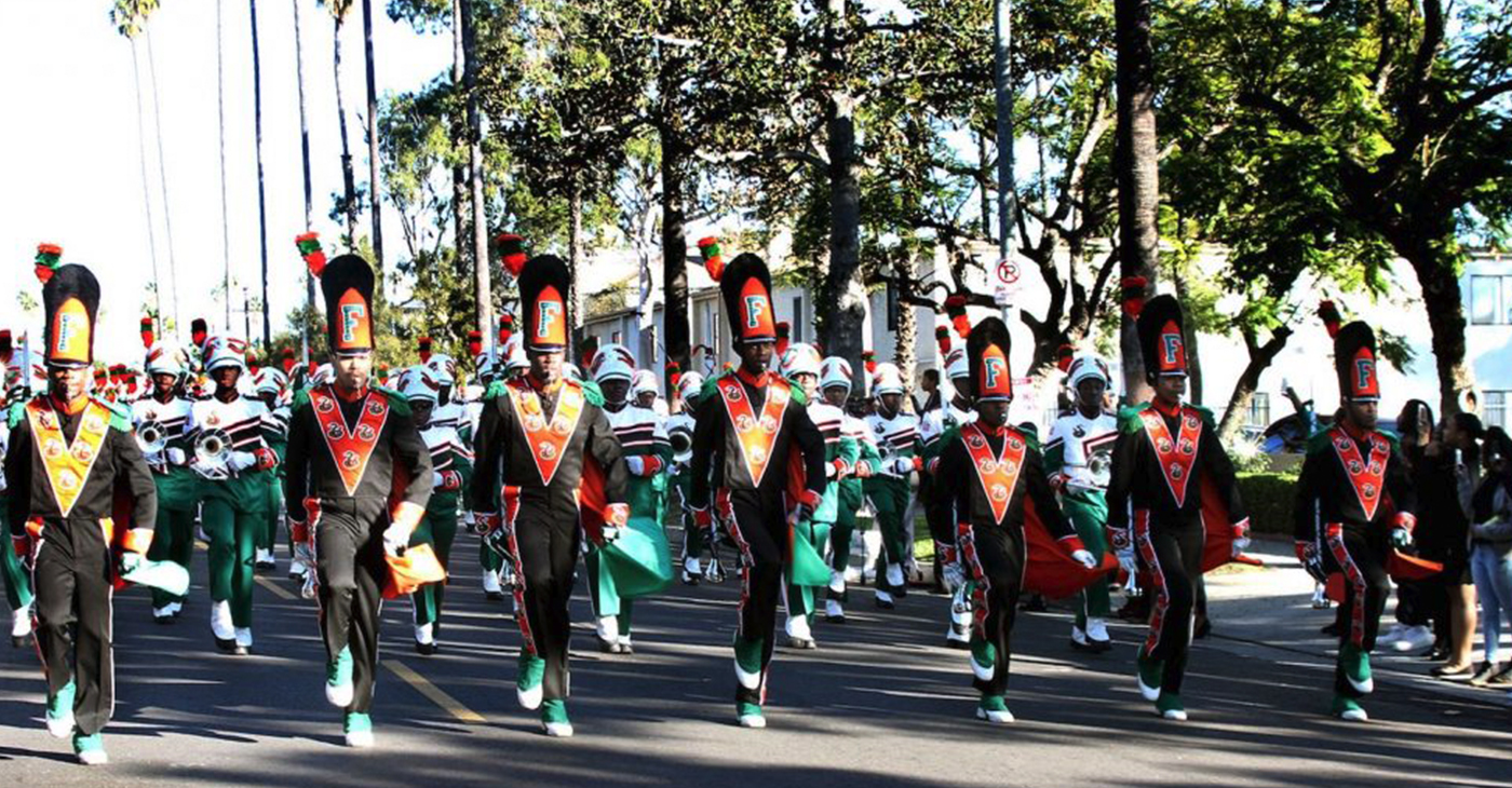 "The Florida A&M University Marching ""100"" parade outside First AME Church of Los Angeles on Dec. 30. (Photo by Clayton Everett)"